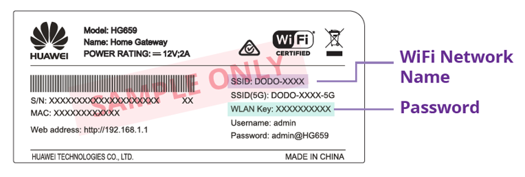 Modem Wi-Fi Label